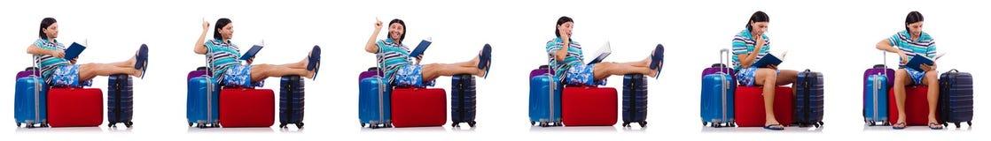 Turysta z torbami odizolowywać na bielu Zdjęcie Stock