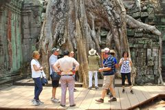 Turysty Ta grupowy antyczny prohm świątynny Angkor, Kambodża Zdjęcia Stock