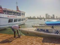 Turystyczna łodzi przerwa w Cartagena zdjęcie royalty free