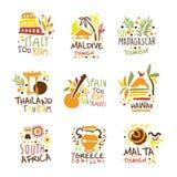 Turystyczna agencja podróży Ustawiająca Kolorowi Promo znaka projekta szablony Z Różnymi turystyka krajami I Ich Sławnym ilustracja wektor