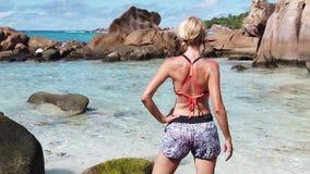 Turystyczna kobieta przy losem angeles Digue zdjęcie wideo