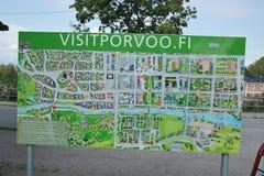 Turystyczna mapa Porvoo, Finlandia zdjęcia stock