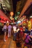 Turystyczna uliczna aktywność w Siem Przeprowadza żniwa przy nocą, Kambodża Zdjęcia Stock