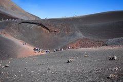 Turystyczna wycieczka wulkan Etna, Catania Sicily Włochy Zdjęcia Stock