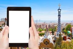 Turystyczne fotografie Barcelona miasto, Hiszpania Obrazy Royalty Free