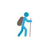 Turystycznego backpacker płaska ikona, podróży turystyka Obraz Royalty Free