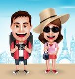 Turystycznej podróżnik pary charakterów Wektorowy Być ubranym Przypadkowy z Podróżnymi torbami ilustracji