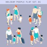 Turystyczni ludzie 3D Płaskiego Isometric setu 01 Zdjęcia Royalty Free