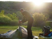 Turystyczni namiotów fałdy zdjęcie royalty free