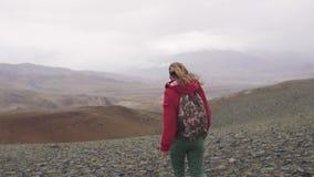 Turystyczni spacery przez gór w dolewaniu padają podróżnik dziewczyna z plecakiem widok z powrotem zbiory wideo