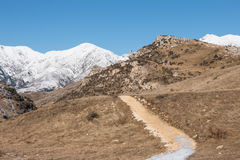 Turystyczny ścieżka sposób w górach, Nowa Zelandia Obraz Stock