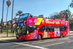 Turystyczny autobus w Seville, Hiszpania Fotografia Stock