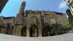 Turystyczny Barcelona, gotyk ćwiartka Czasu up?yw zdjęcie wideo
