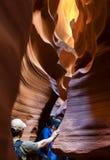 Turystyczny fotograf podziwia antylopa jar Obrazy Royalty Free