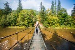 Turystyczny mężczyzna spacer długim drewnianym zawieszenie mostem nad rzeka obraz stock
