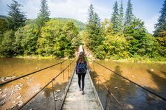 Turystyczny mężczyzna spacer długim drewnianym zawieszenie mostem nad rzeka obraz royalty free
