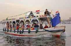 Turystyczny motorboat na Nil rzece, Luxor Fotografia Stock