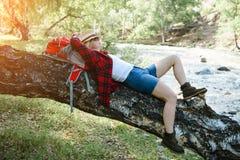 Turystyczny odpoczywać po podwyżki na drzewie Fotografia Royalty Free