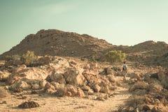 Turystyczny odprowadzenie w Namib pustyni, Namib Naukluft park narodowy, Namibia Przygoda i eksploracja w Afryka Stonowany wizeru obraz royalty free