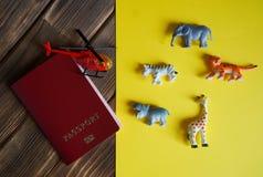 Turystyczny paszport, Afrykańscy zwierzęta i helikopter, obraz stock