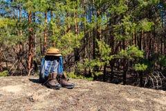 Turystyczny plecak, wycieczkujący buty i kapelusz na haliźnie w sosnowym lesie Zdjęcia Stock