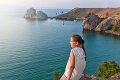 Turystyczny pobliski jezioro obrazy royalty free