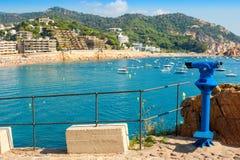 Turystyczny teleskop tossa de mar Hiszpania Zdjęcie Royalty Free