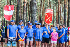 Turystyczny wiec młodzi ludzie w Gomel regionie republika Białoruś obraz stock