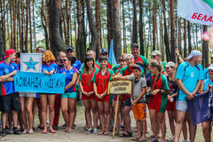Turystyczny wiec młodzi ludzie w Gomel regionie republika Białoruś fotografia royalty free