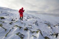 Turystyczny wycieczkowicz w jaskrawej czerwonej odzieży z chodzącymi kijami pochodzi fotografia stock