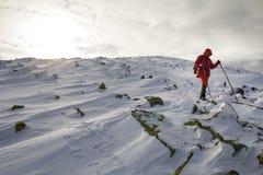 Turystyczny wycieczkowicz w jaskrawej czerwonej odzieży z chodzącymi kijami pochodzi niebezpiecznego skalistego halnego skłon zak zdjęcie stock