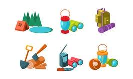 Turystyczny wyposażenie dla podróż wektoru ilustracji, narzędzia dla wycieczkować i obozować, akcesoria ilustracja wektor