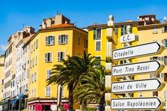 Turystyczny znak uliczny w Ajaccio, Corsica zdjęcia royalty free