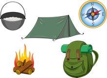 Turystyka campingu przedmioty Ilustracji