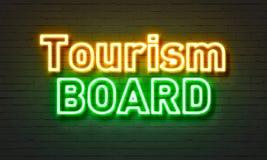 Turystyka deskowy neonowy znak na ściana z cegieł tle Obrazy Royalty Free