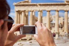 Turystyka w Grecja, antyczne ruiny Zdjęcia Stock