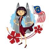 Turystyka w Malezja Szczerze Azja ilustraci royalty ilustracja