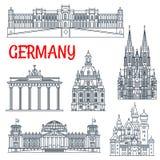 Turystyki Niemcy cienki kreskowy wybitny punkt zwrotny ilustracja wektor
