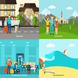 Turystyki 4 płaskich ikon kwadratowy sztandar Zdjęcie Stock