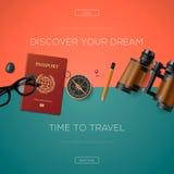 Turystyki strony internetowej szablon, wektorowa ilustracja Fotografia Stock