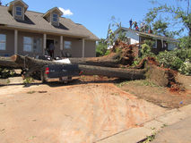 TUSCALOSA,美国2011年4月28日,毁灭的龙卷风的损伤 免版税图库摄影
