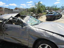 TUSCALOSA, USA am 28. April 2011, Schaden des verheerenden Tornados Stockbild