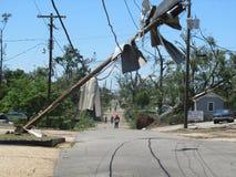 TUSCALOSA USA 28 APRIL 2011, skada av den förödande tromben royaltyfri fotografi