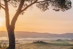 Tuscan σπίτι στους λόφους μεταξύ των κυπαρισσιών Στοκ φωτογραφία με δικαίωμα ελεύθερης χρήσης