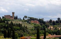 Tuscan τοπίο Φλωρεντία, Ιταλία κάστρων αναγέννησης Στοκ Εικόνα