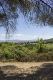 Tuscan τοπίο λόφων, στην περιοχή που ονομάζεται Val Δ ` Orcia Στοκ φωτογραφία με δικαίωμα ελεύθερης χρήσης