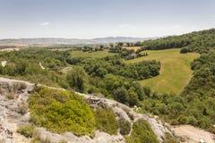 Tuscan τοπίο λόφων Στοκ εικόνα με δικαίωμα ελεύθερης χρήσης