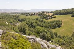 Tuscan τοπίο λόφων Στοκ Εικόνα