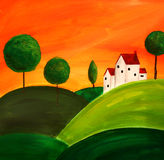 Tuscan art 3. Folk art painting of tuscan landscape