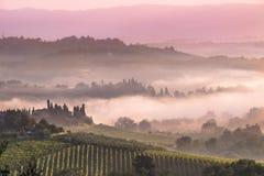 Tuscan bylandskap i morgonen Arkivbilder